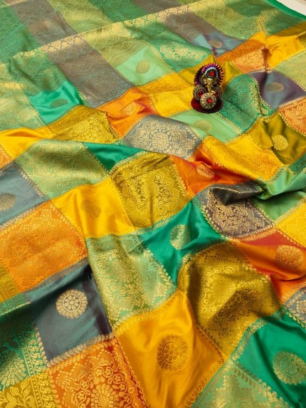 Kanchipuram soft lichi silk Saree
