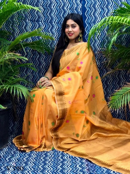 Fancy Mustard Linen Printed saree grabandpack
