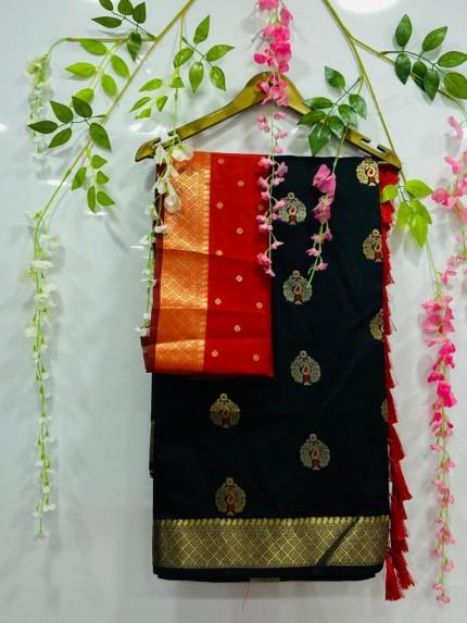 soft cotton silk weaving silver and gold zari saree in black