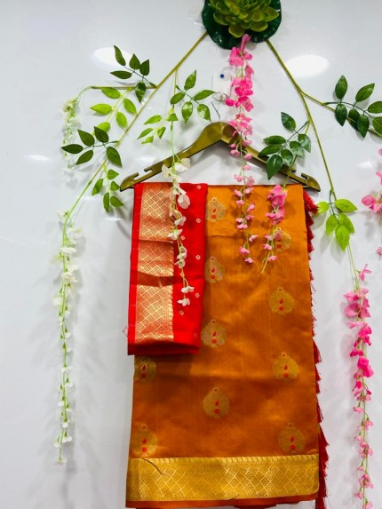 soft cotton silk weaving silver and gold zari saree in Orange
