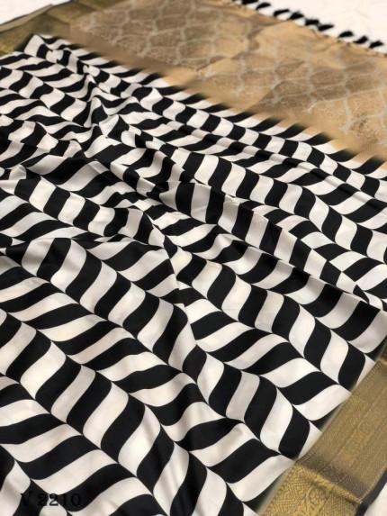 Off White Strip Print Soft Silk Saree - gnp0108523