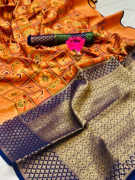 grabandpack Orange Banarasi Handloom Weaving Patola Silk Saree