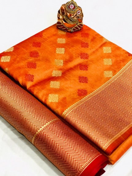 Orange Colored Party Wear Crystal Silk Saree - gnp010182