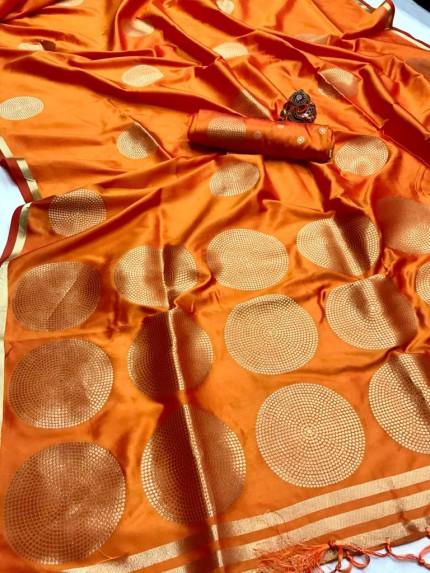 GrabandPack Orange Coloured Lichi silk saree