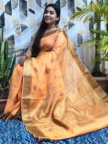orange Designer Party Wear Printed Saree