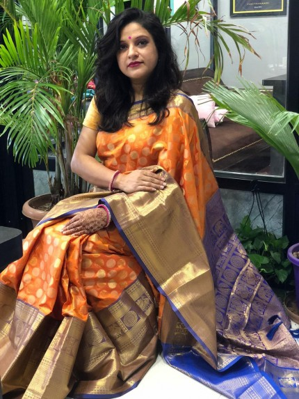 Orange Kanchipuram Silk Saree - gnp009373