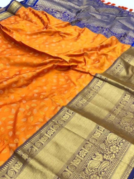 Orange kanchipuram silk saree by grabandpack.com