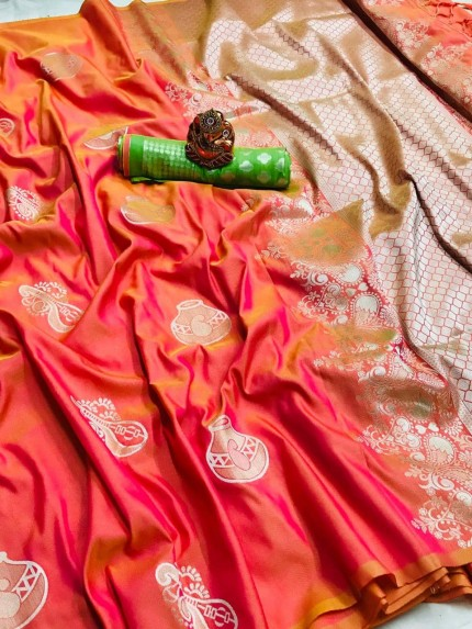 Orange Lichi Silk with Zari Weaving Saree - gnp009902