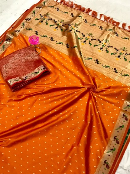 Orange Pure Soft Mina Zari Weaving Paithani Saree - gnp0108745