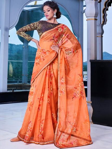 Orange Soft Organza Silk with Handprint and Gold Touch - gnp0108870
