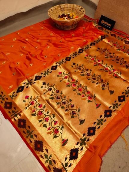 Orange Soft Paithani Silk Party wear Saree