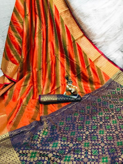 Orange Soft Pure Banarasi Patola Saree with Beautiful Weaving - gnp010053