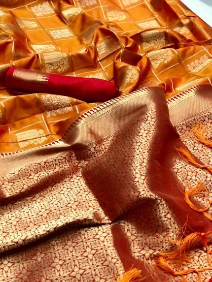 Orange Soft silk saree at Best online saree shopping site