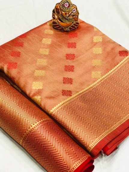 Peach Colored Party Wear Crystal Silk Saree - gnp010183
