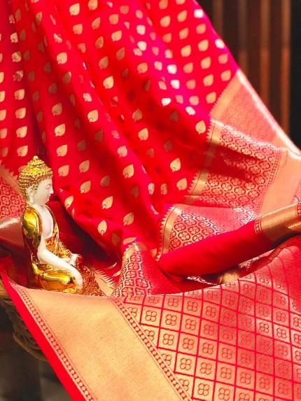 Peach coloured Lichi silk Party wear unique saree