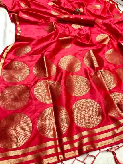 GrabandPack PEach  Coloured Lichi silk saree