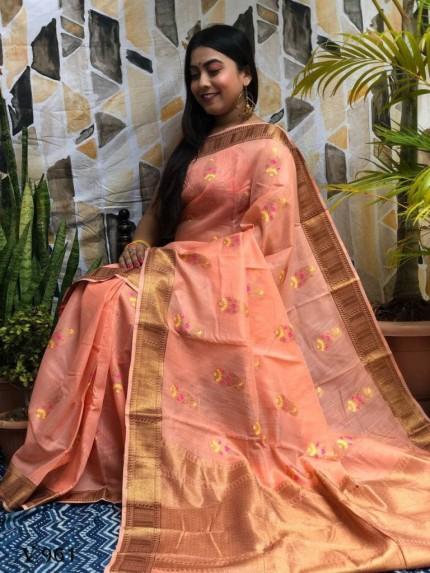 peach Designer Party Wear Printed Saree