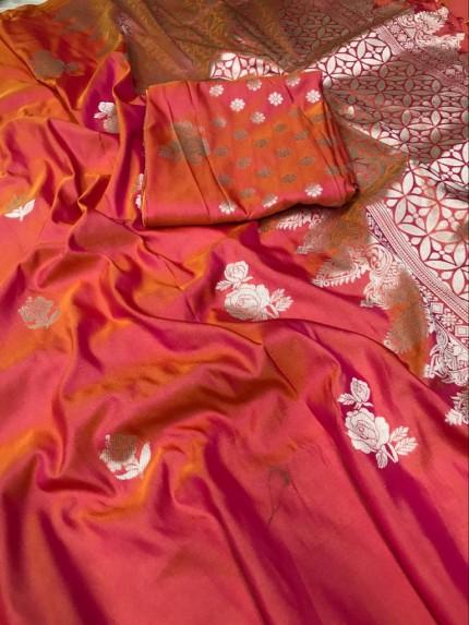 Peach Lichi Silk with Zari Weaving Saree - gnp010082
