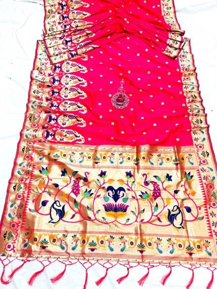 Peach Pethani Silk Saree With Full Jacquard Weaving Big Border - gnp0108788