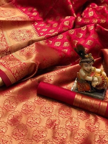 Peach Pure Banarasi Soft Silk Saree with Zari Weaving - gnp010003