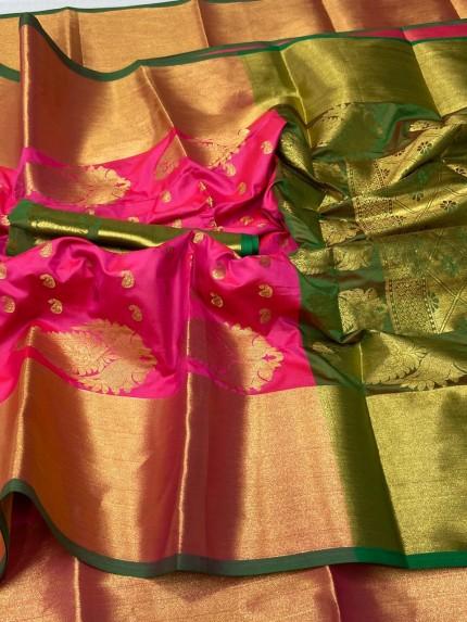 Pink and Blue Kanchipuram silk saree gnp0107408