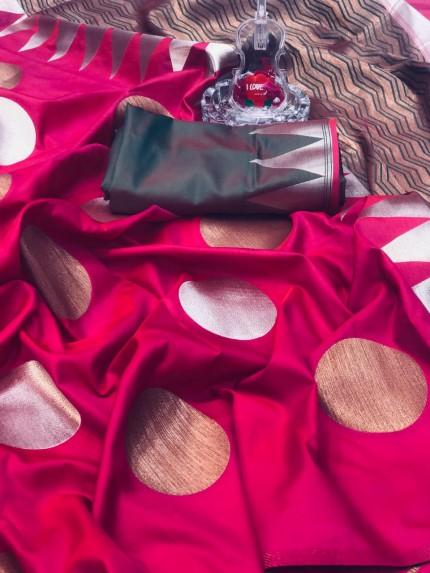 Pink Banarasi Silk Golden And Silver Zari Weaving Saree - gnp008700