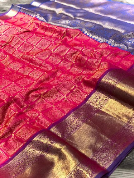 Pink Banarasi Silk With Zari Work Saree - gnp009000