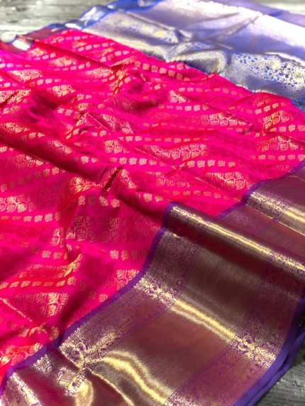 Pink Banarasi Silk With Zari Work Saree - gnp009001