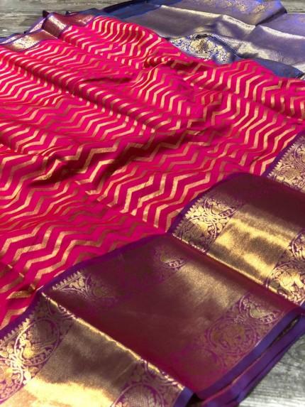 Pink Banarasi Silk With Zari Work Saree - gnp009002