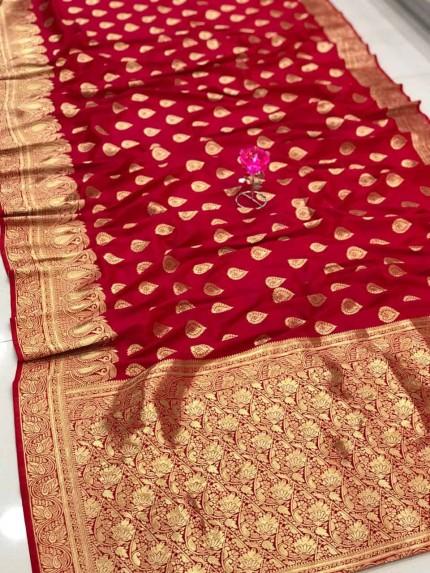 Pink Banarasi Soft Silk Saree