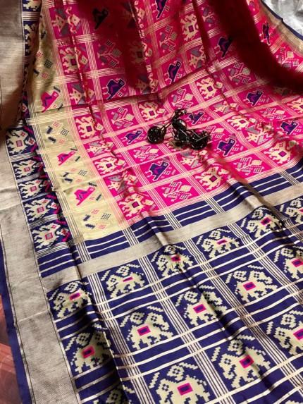 GrabandPack Pink Banarasi weaving Silk Saree with beautiful running blouse