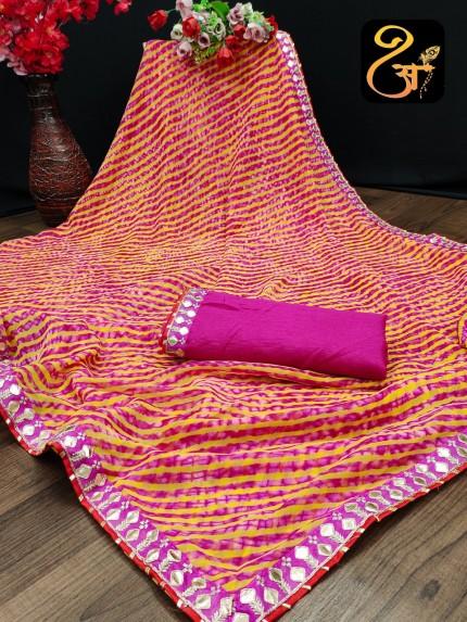 Pink Bandhani Printed Georgette saree at grabandpack