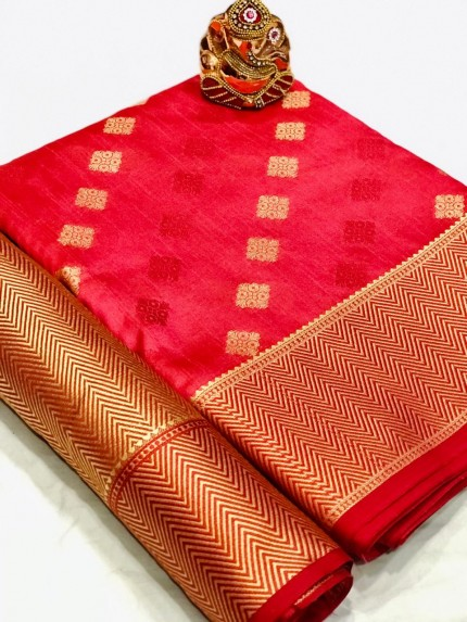 Pink Colored Party Wear Crystal Silk Saree - gnp010184