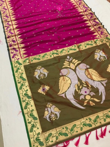 Pink and Green Function Special Pethani Silk saree