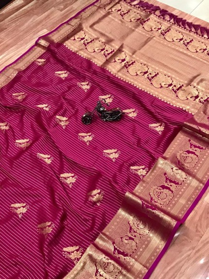 Jacquard Sona Chandi pure zari work saree by grabandpack