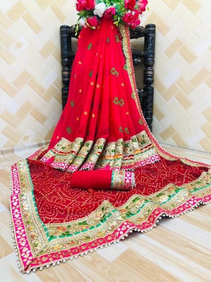 women's party wear Georgette bandhani saree gnp0107672