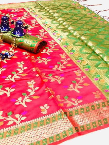 pink sarees with Green border