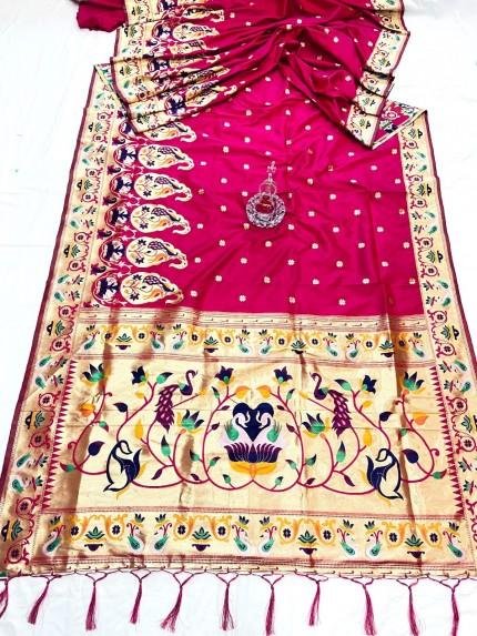 Pink Pethani Silk Saree With Full Jacquard Weaving Big Border - gnp0108789