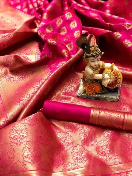 Pink Pure Banarasi Soft Silk Saree with Zari Weaving - gnp010004