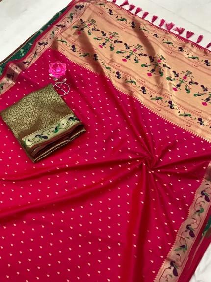 Pink Pure Soft Mina Zari Weaving Paithani Saree - gnp0108746