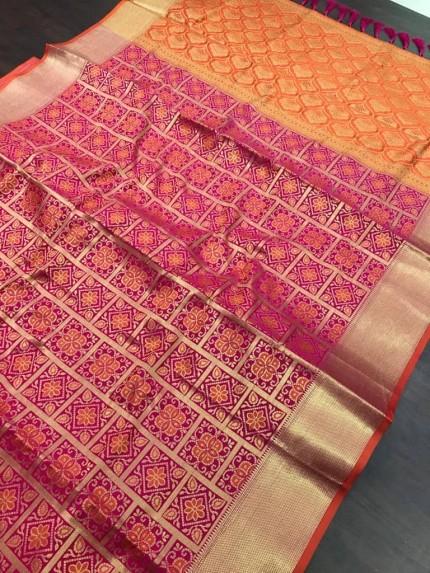 pink soft Banarasi Patola silk Saree at grabandpack