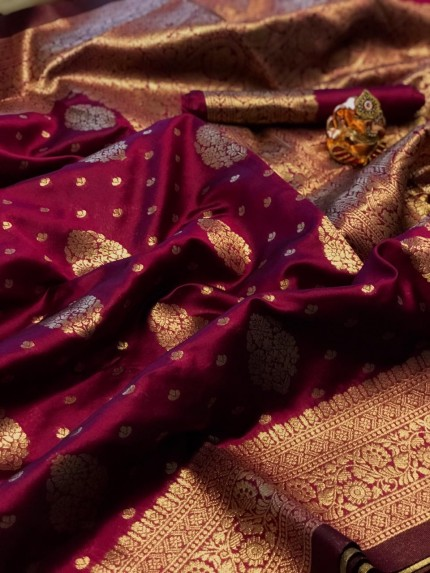 Pink soft banarasi silk weaving gold jari border saree