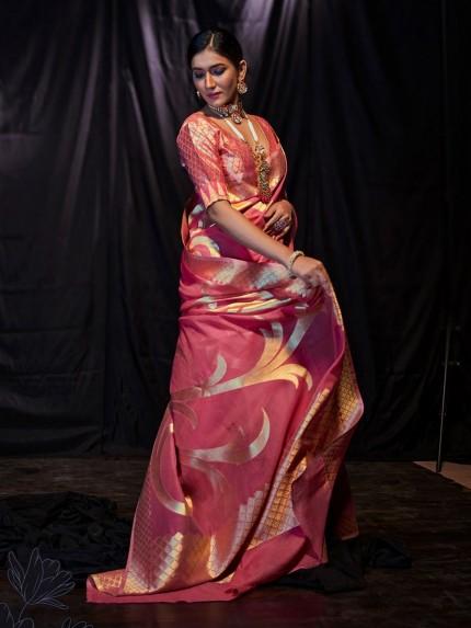 Pink Soft Modal Cotton with Designer Weaving Saree - gnp0108878