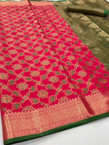 Pink Soft zari Weaving Silk Patola Saree - gnp0108862