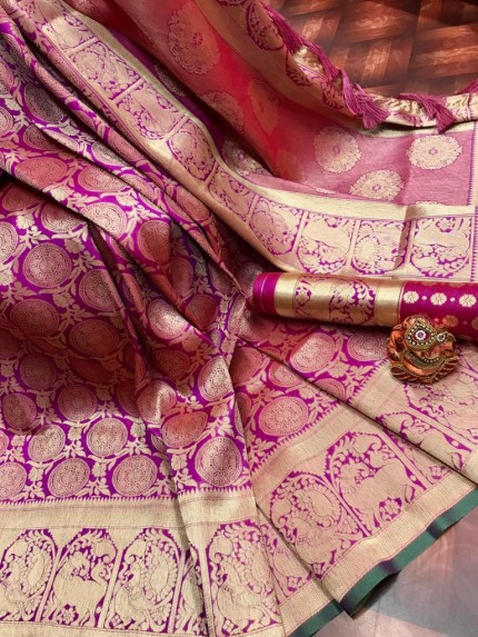 Pink Super Soft Banarasi Silk Saree with Weaving Gold Zari - gnp009758