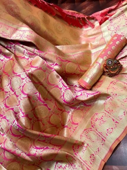 Pink Super Soft Banarasi Silk Saree with Weaving Gold Zari - gnp009759