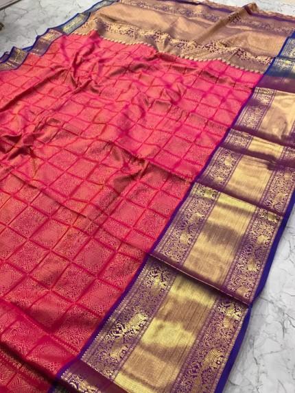 Traditional Kanjivaram silk Saree with Broad border and Rich pallu
