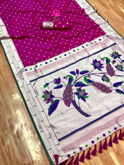 Pink Zari Woven Kanchipuram Silk Saree grabandpack