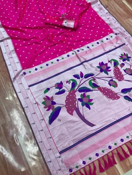 grabandpack Pink Zari Woven Kanchipuram Silk Saree