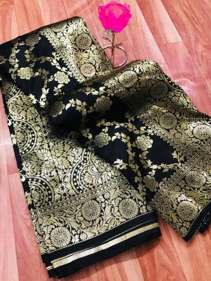 prepossessing Black Soft Silk Saree grabandpack